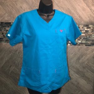 Med couture blue and pink top